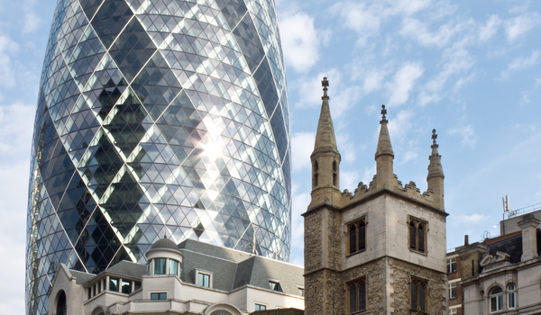 30 st mary axe  swiss re building  and st andrew undershaft church