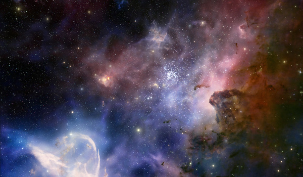 Screenshot from imax  3d movie hidden universe showing the carina nebula